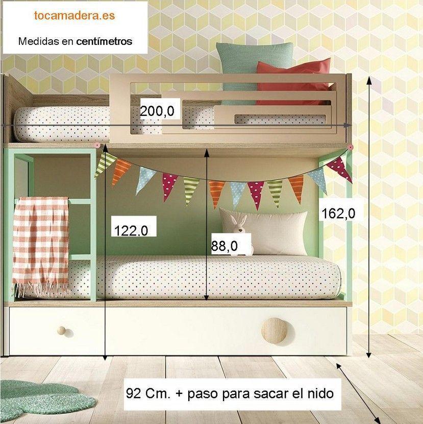 Litera infantil vagon con tres camas en 2019 planos de - Medidas camas infantiles ...