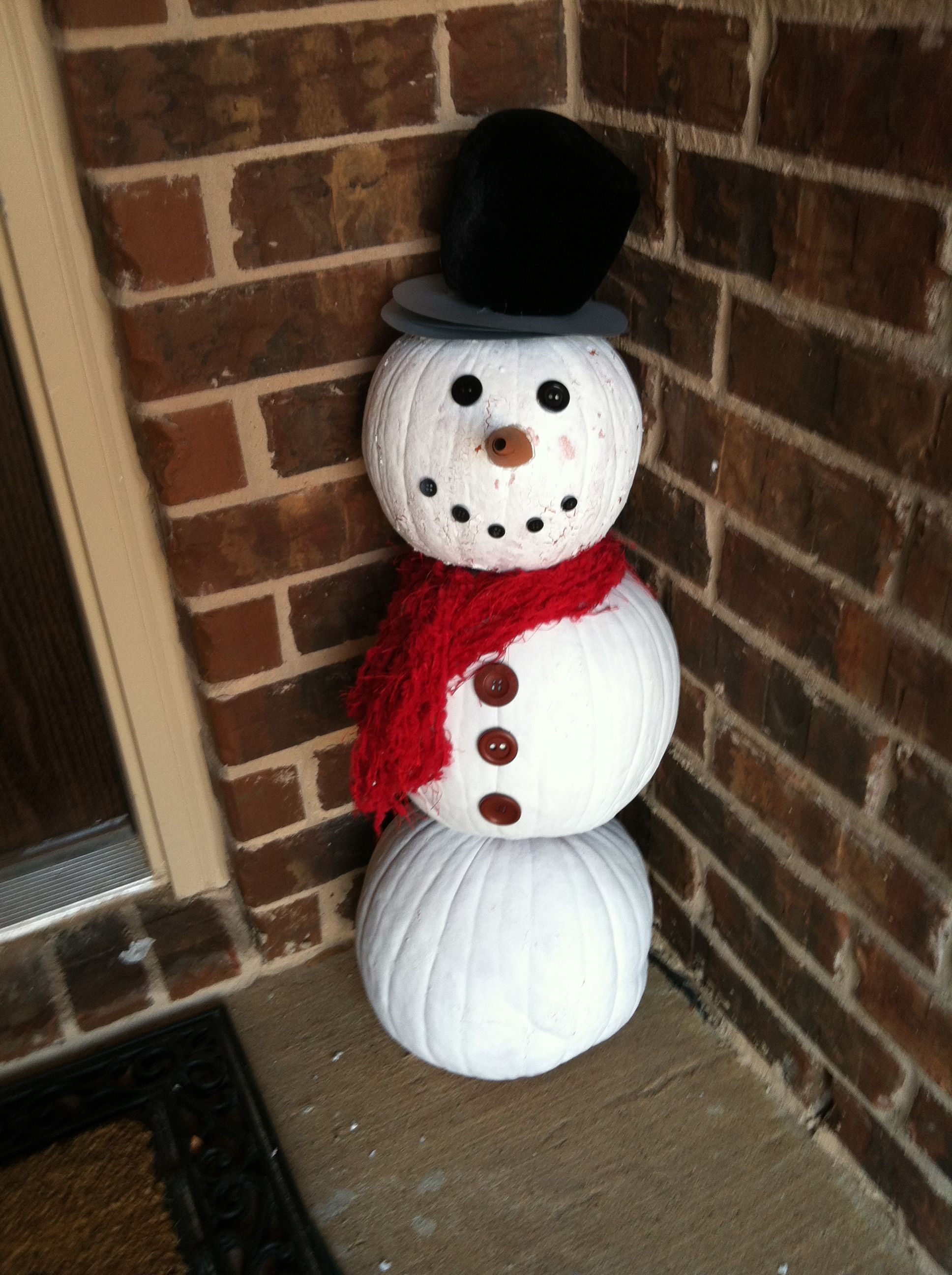 Repurposed pumpkins- Snowman! (With images) | Christmas ...