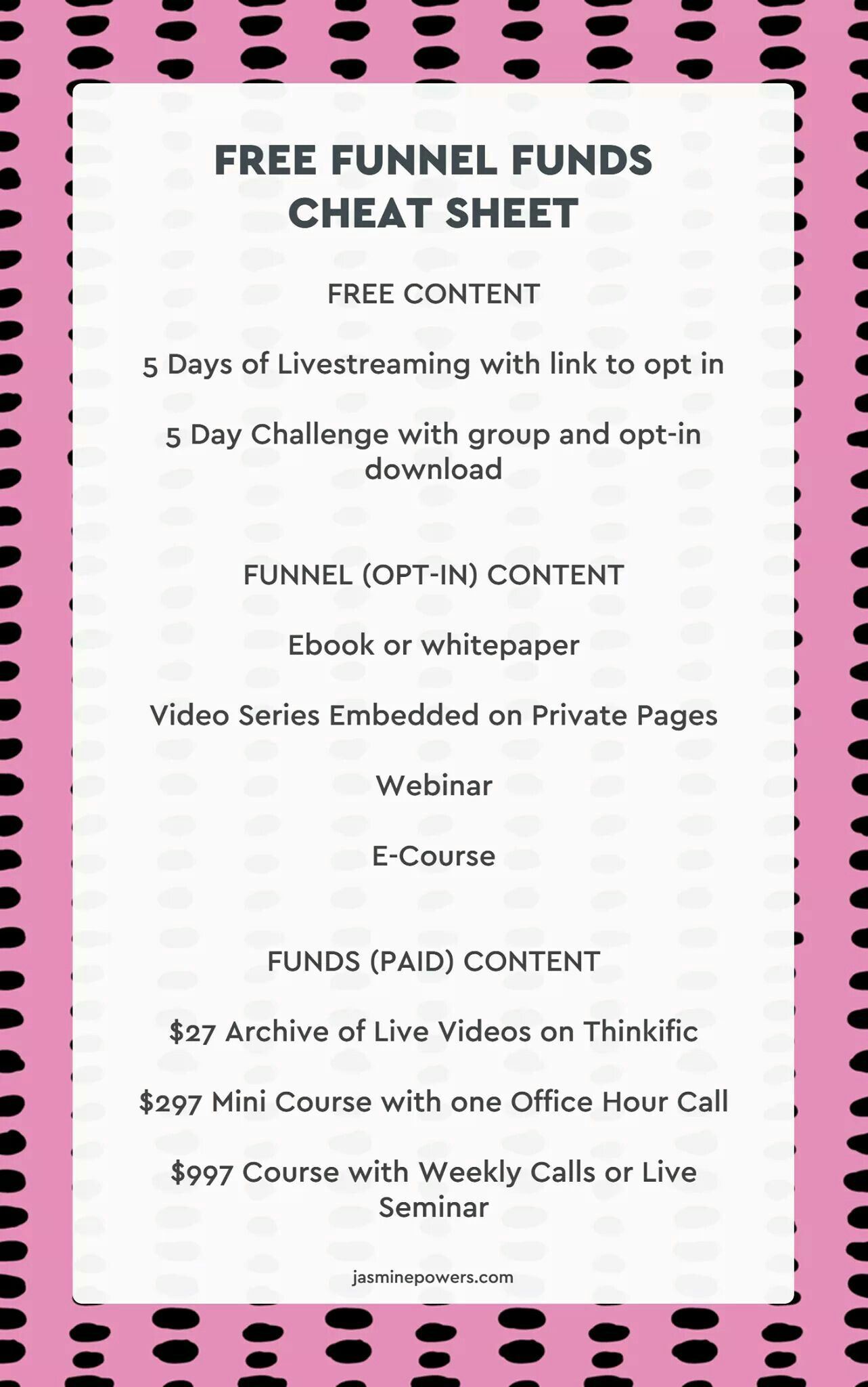 Grab The Free Funnel Funds Cheat Sheet And Worksheet