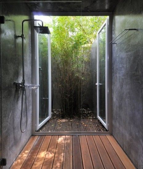 aussendusche innenhof bambuspflanzen sichtschutz einfach nur - sichtschutz fur dusche