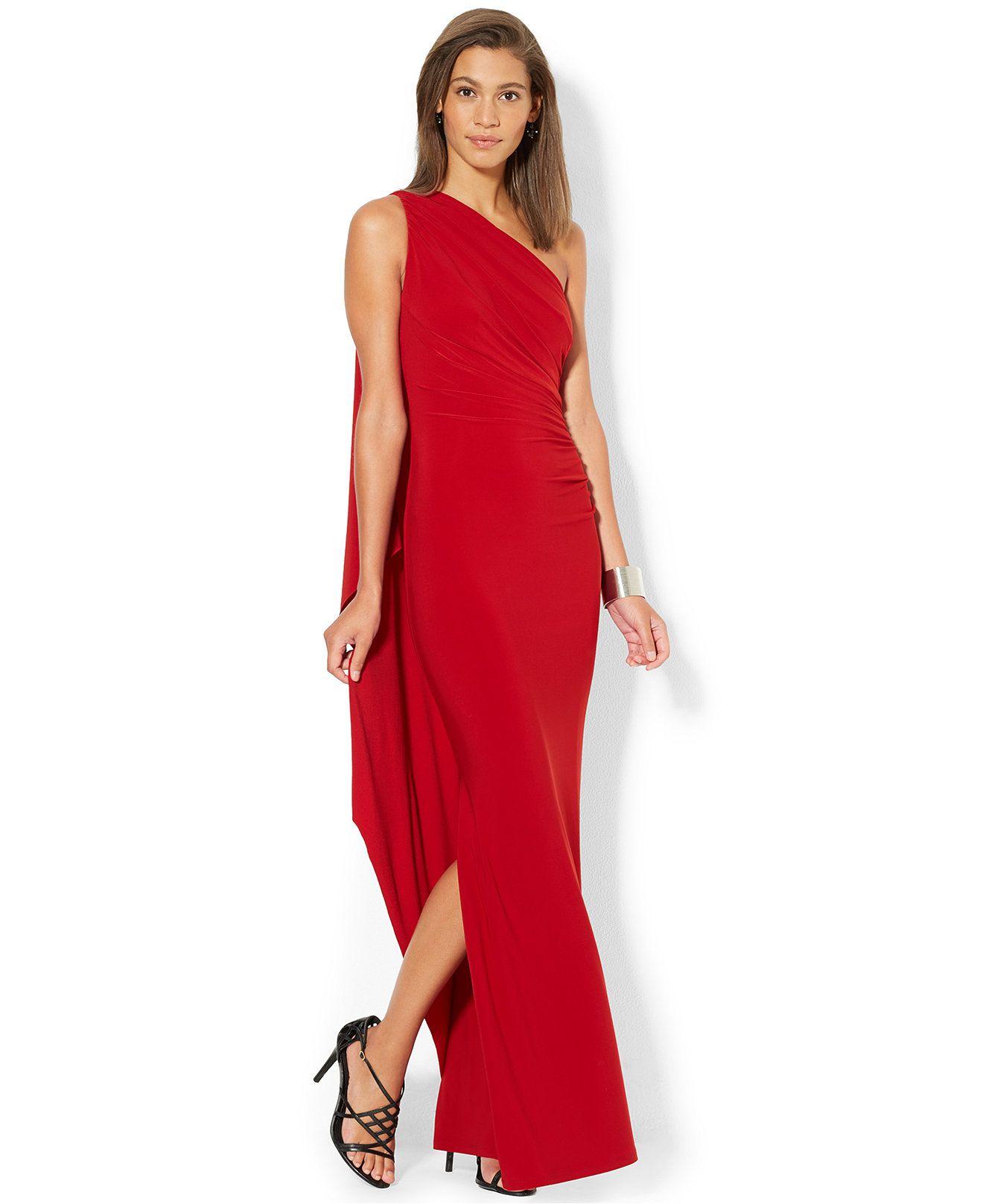 Lauren Ralph Lauren One-Shoulder Draped Gown - Dresses - Women ...