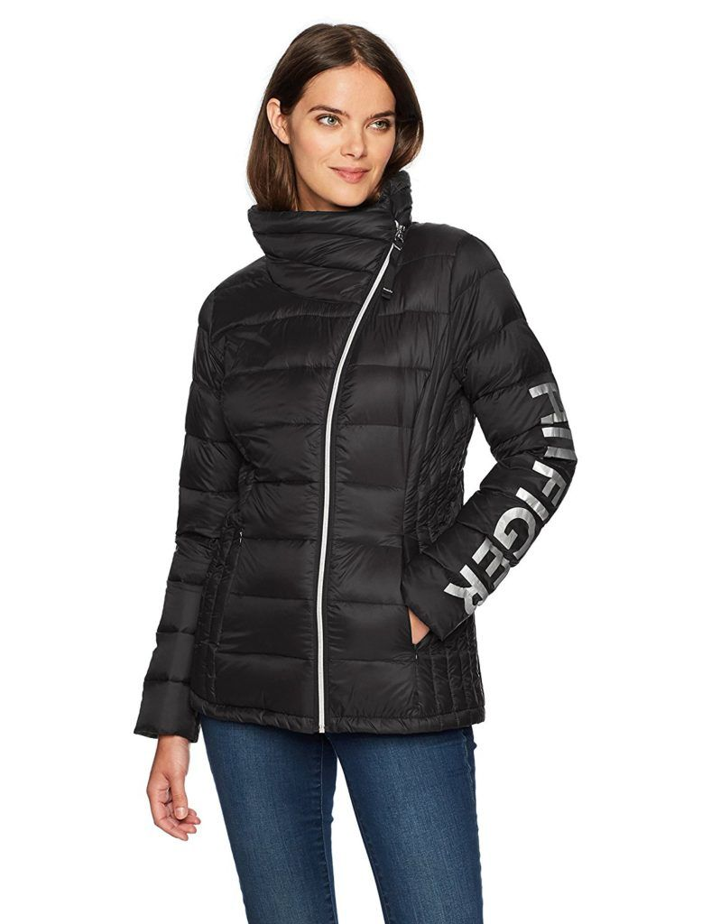 60769dfadf9 Tommy Hilfiger Women s Hilfiger Logo Asymmetrical Zip Active Packable Down  Coat