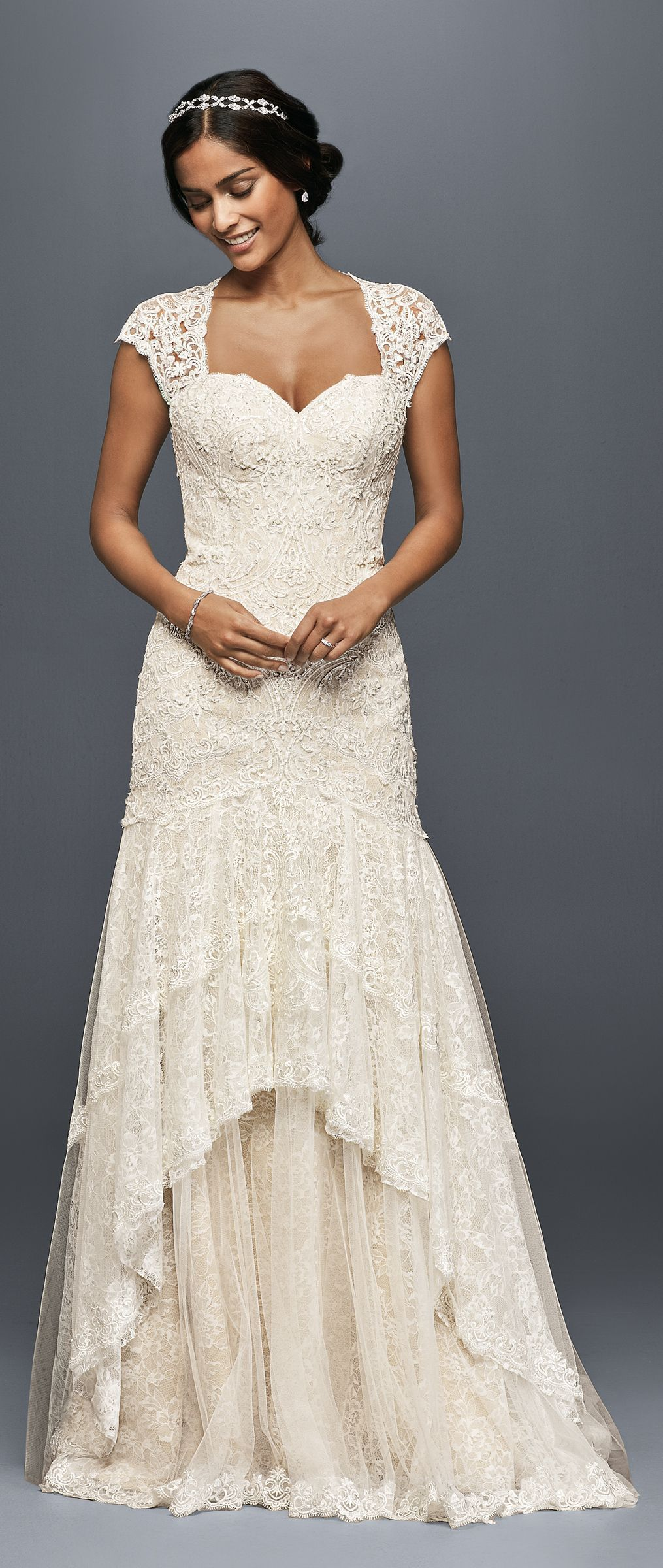 Tiered lace mermaid wedding dress with beading davidus bridal
