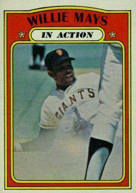 1972 Topps In Action Baseball Cards 1972 Topps Willie Mays In Action 50 Hall Of Fame Baseball Card Values Baseball Cards Willie Mays