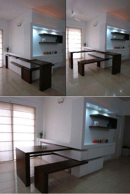 55 ideas para aprovechar y ahorrar espacio en casa mesas - Aprovechar espacio cocina ...