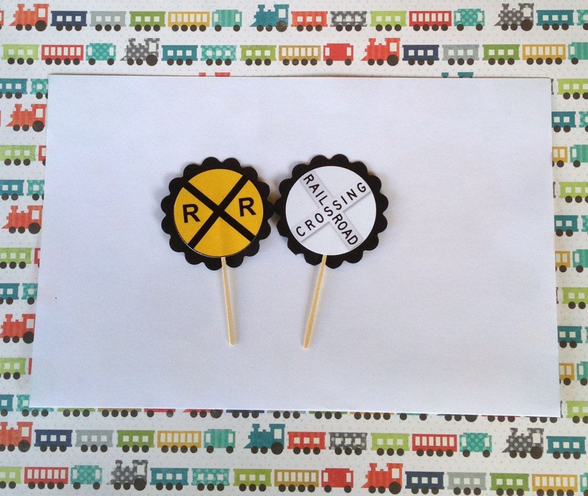 Baby shower  Train Railroad Birthday Party Cupcake Toppers by PartyXtras, $4.25