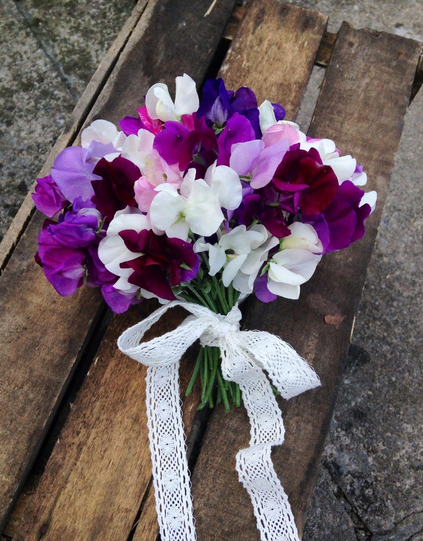 July Seasonal Wedding Flowers Sweet pea bouquet Purple