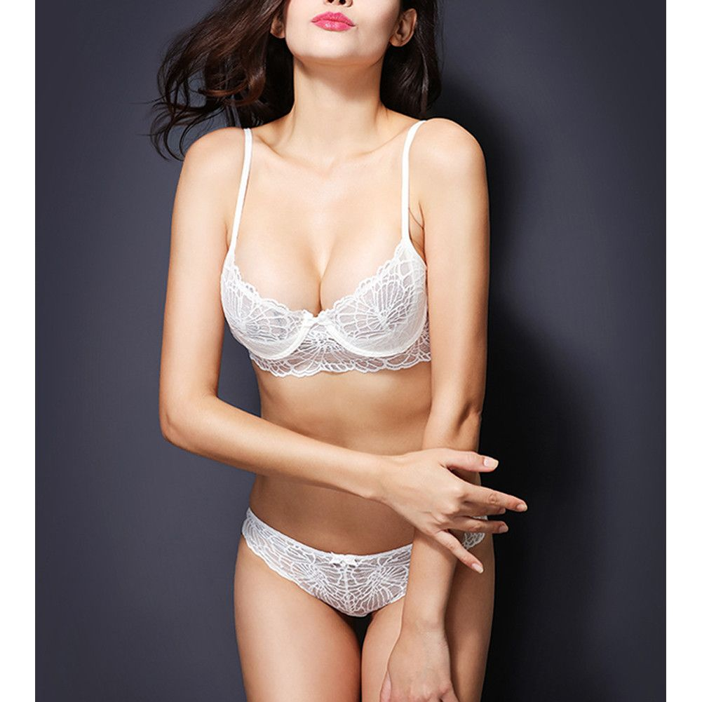 c4c9a677a9c Flower Lace Ultra-thin Transparent Bra Panties Set Women Sexy Deep V ...