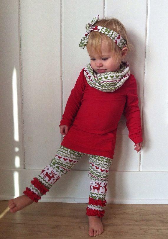 Fair Isle Baby Girl Christmas Leggings - Red and Green Girl Christmas Ruffle Pants -Toddler Girl Reindeer Leggings - Newborn Holiday Pants