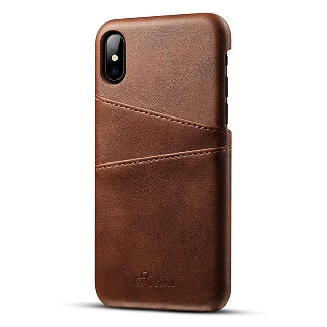 slim pu leather case for iphone x cases back cover protective card holder wallet phone bag