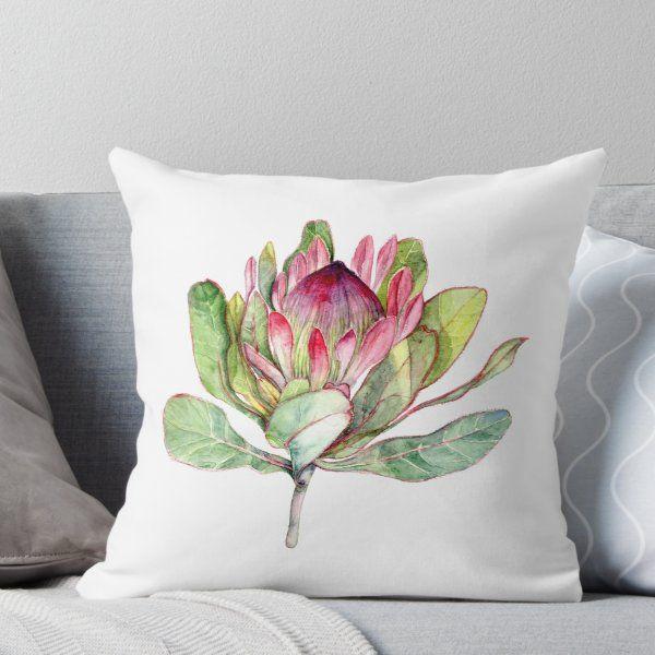 Protea Flower Botanical Art Throw Pillow By Goosi Flower Throw Pillows Protea Flower Throw Pillows