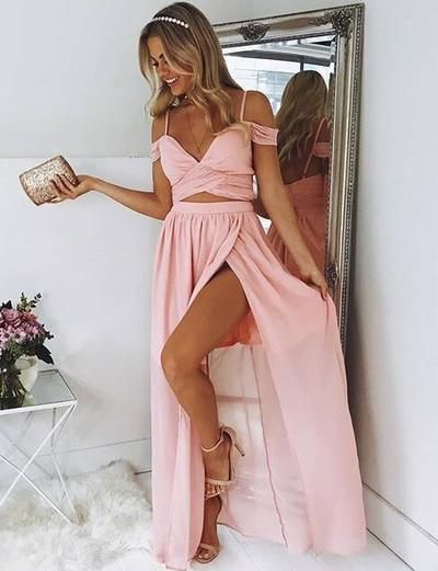 2018 Sexy Two Pieces Prom Dress, Off Shoulder with Straps Prom Dress, Thigh Split Long Prom Dresses Formal Dress from bettybridal - Piece prom dress, Slit dress prom, Cheap prom dresses, Simple prom dress, Chiffon prom dress, Straps prom dresses - Welcome to my shop,please contact my Email floraguopei1991@yahoo com if you have any questions, i can custom made color and size for everyone! I learned fashion design when in university 4 years  Before i worked in a dress factory  Later i work by myself, my all dresses are made of top quality mater