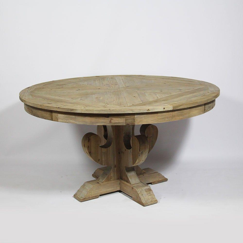 Table Ronde Cm Avec Pied Central En Bois Recyclé Naturel - Table ronde bois massif