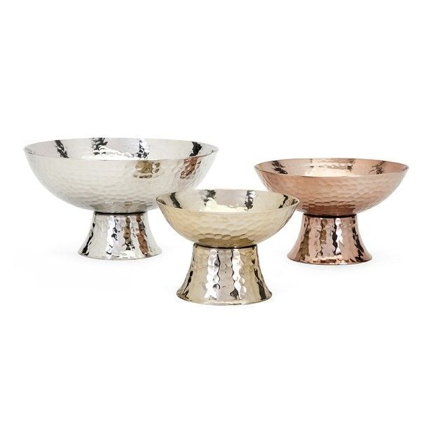 Parvel 3 Piece Metallic Pedestal Decorative Bowl Set