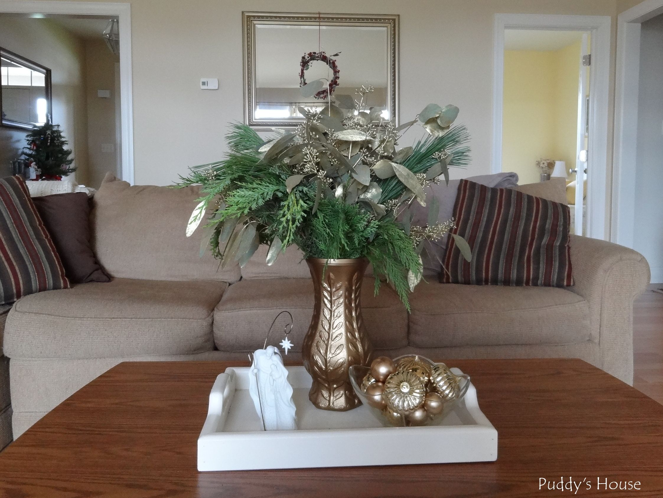 Christmas Greens in Spraypainted vase ornaments wreath on mirror