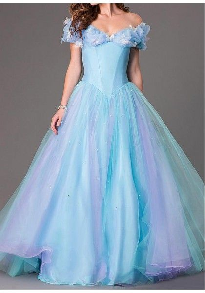 Free Shipping Formal Dress Prom Dress Blue Off The Shoulder Tulle ...
