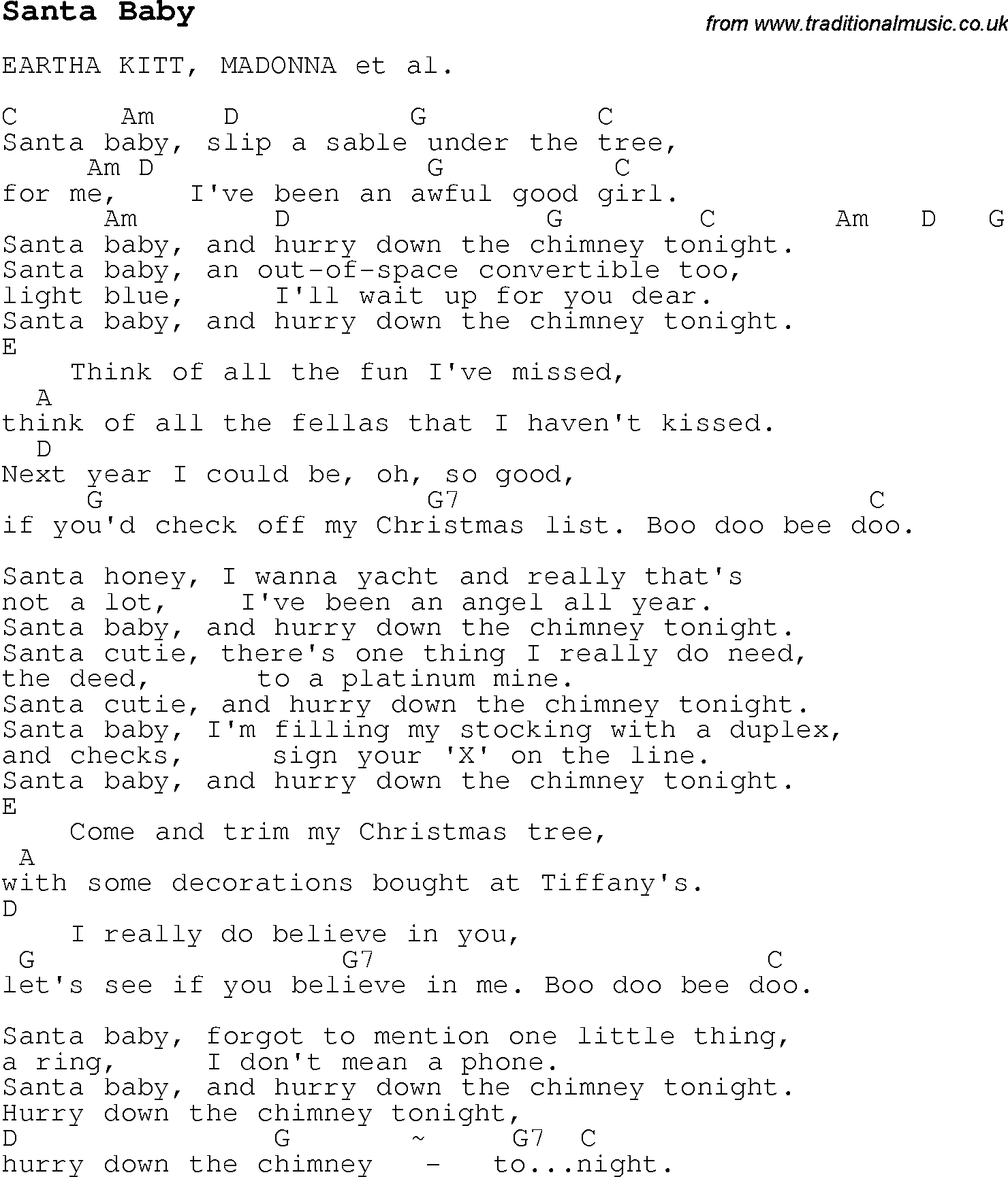 Christmas Songs and Carols lyrics with chords for guitar banjo for Santa Baby