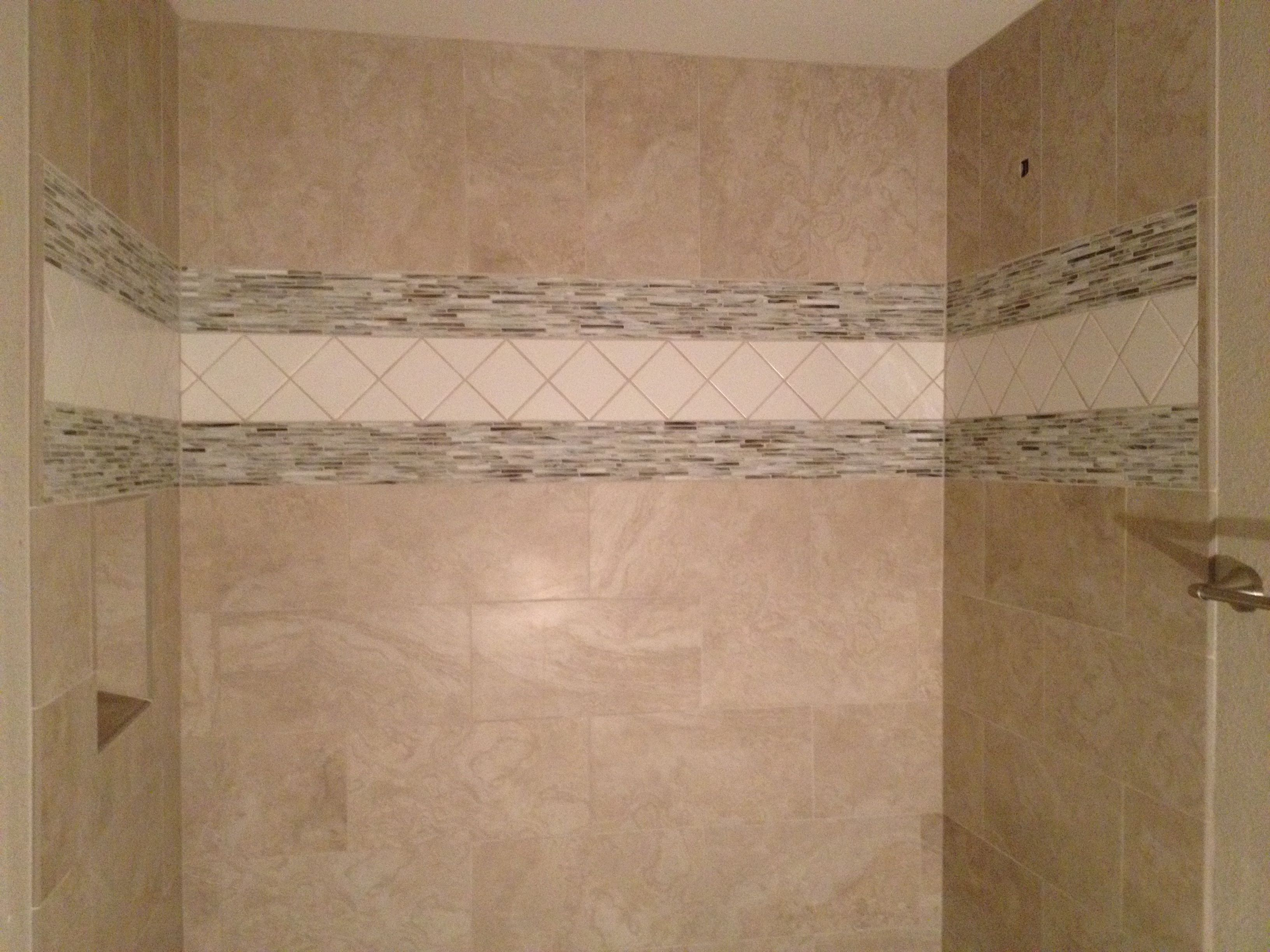 Brick lay tile shower with mosaic band showers tubs pinterest brick lay tile shower with mosaic band dailygadgetfo Choice Image
