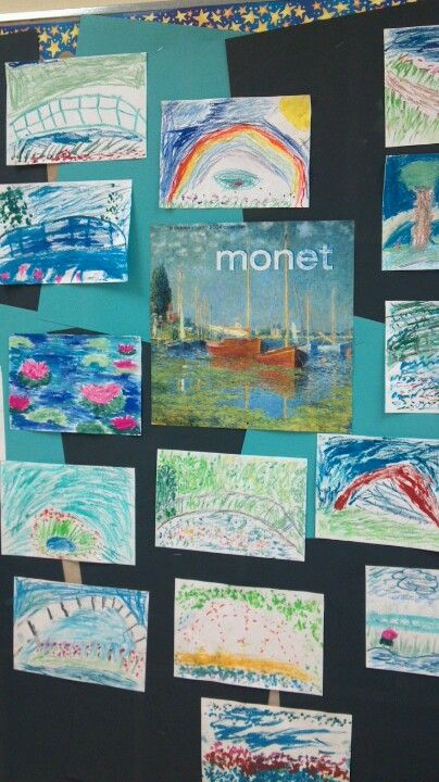 second grade chalk drawings inspired by claude monet