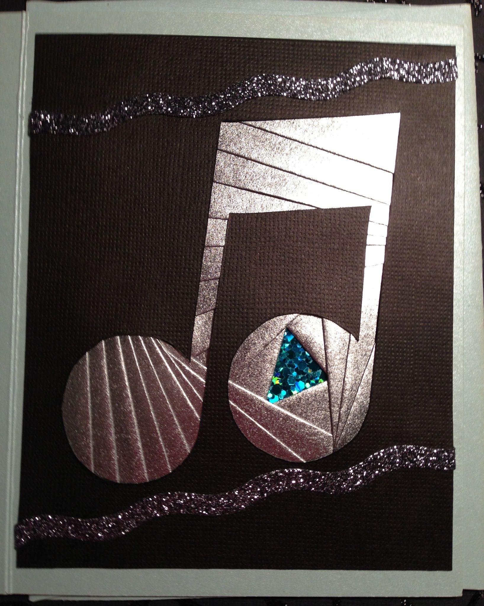 custom iris folded blank card musical note iris folding cards