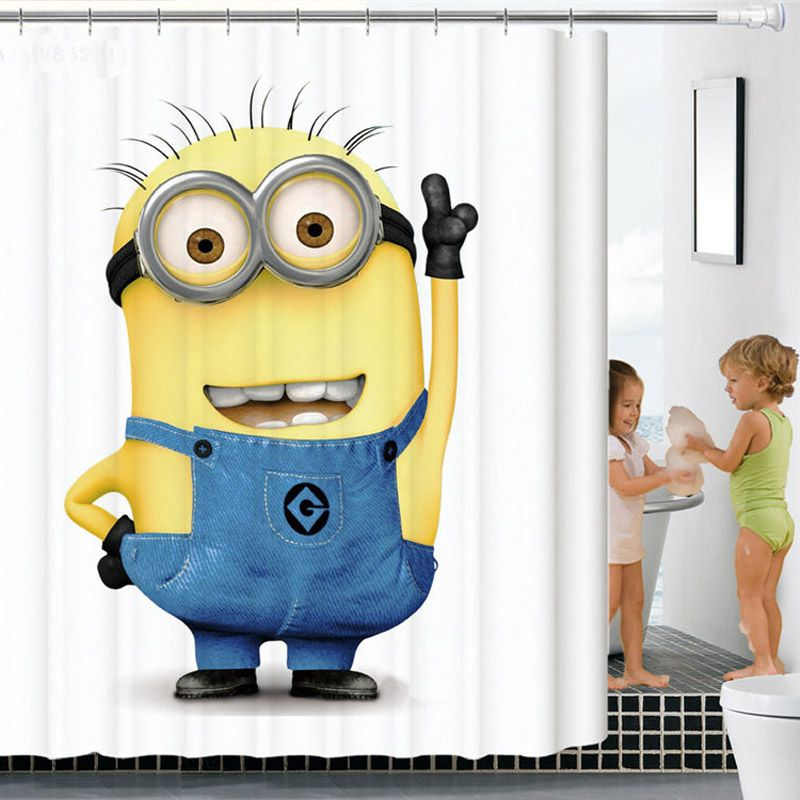 Cartoon Shower Curtains 3D Printed Small Yellow People Bathroom ...