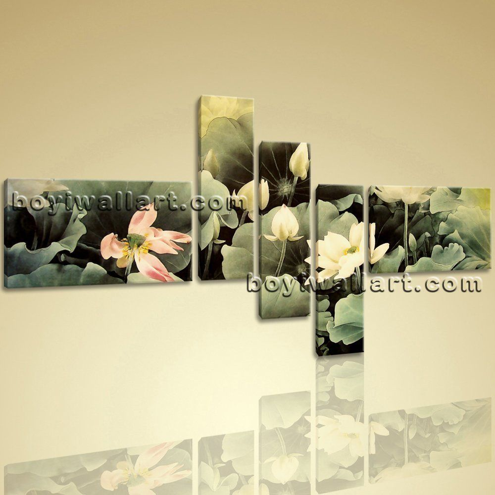 Framed Water Lily Flower Chinese Painting Abstract Floral Canvas ...