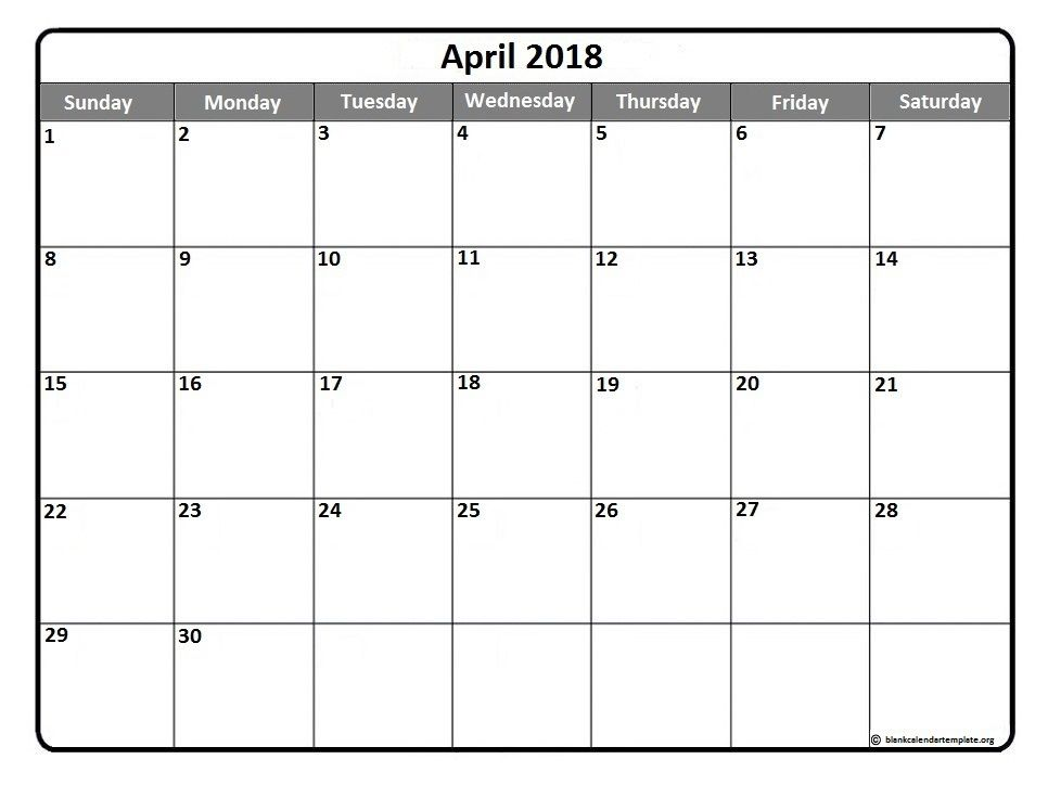 April 2018 printable calendar template Printable calendars - classroom calendar template