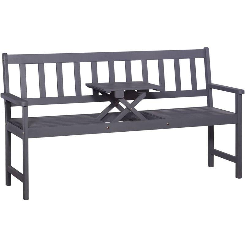Banc de jardin 3 places et table 158 cm Bois dacacia Gris – VIDAXL