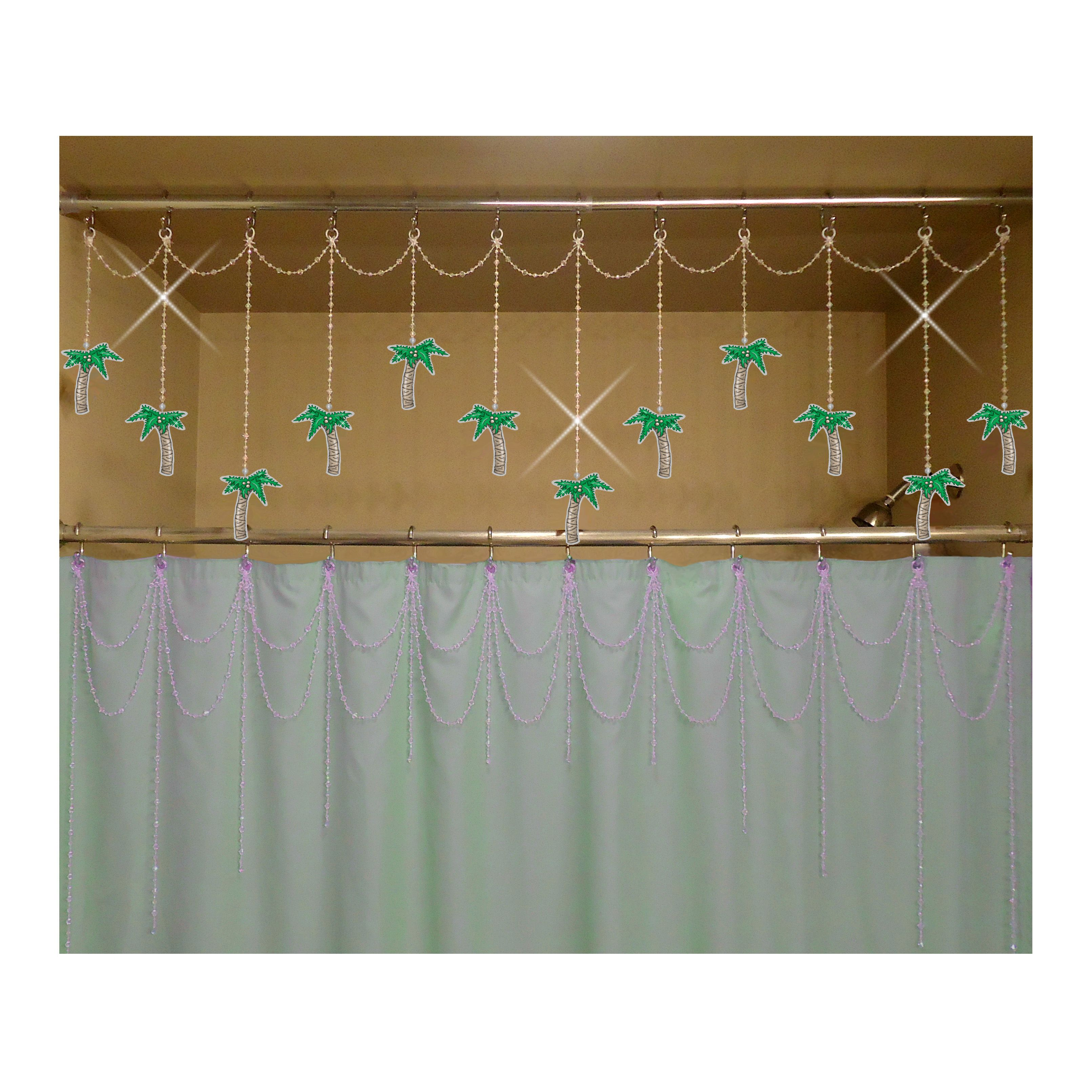 Palm Trees Bathtub Shower Header Bling Ornaments