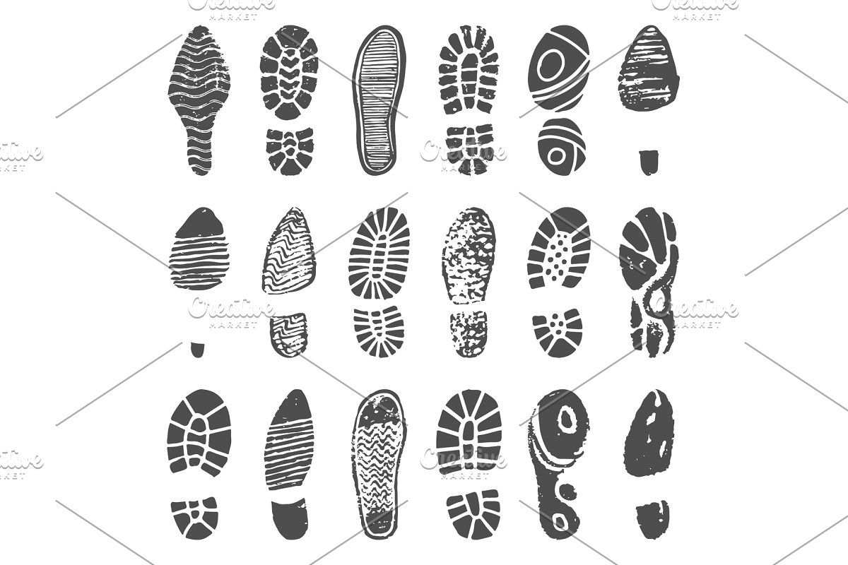 Shoes Footprint Silhouette Sneaker Walking Boots Shoe Step Boot Print
