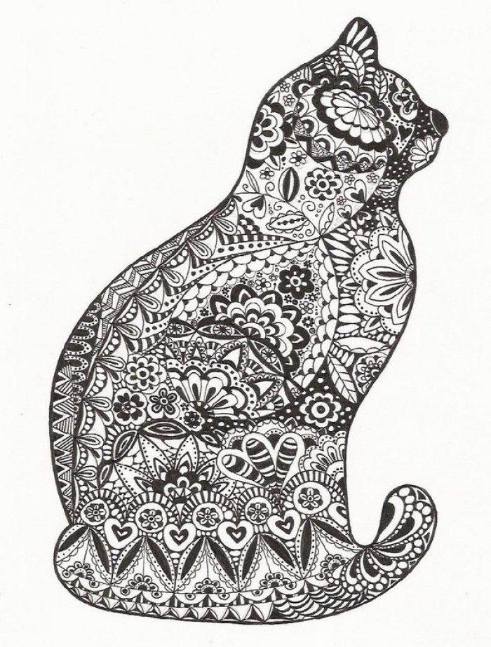 zentangle cat (con imágenes) | Mandalas animales, Gatito ...