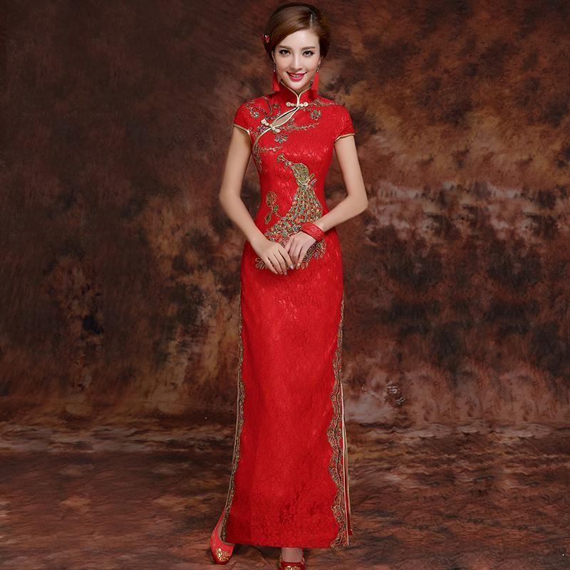 Phoenix Embroidery Brocade Cheongsam Chinese Wedding Dress Chinese Wedding Dress Beautiful Red Dresses Dresses