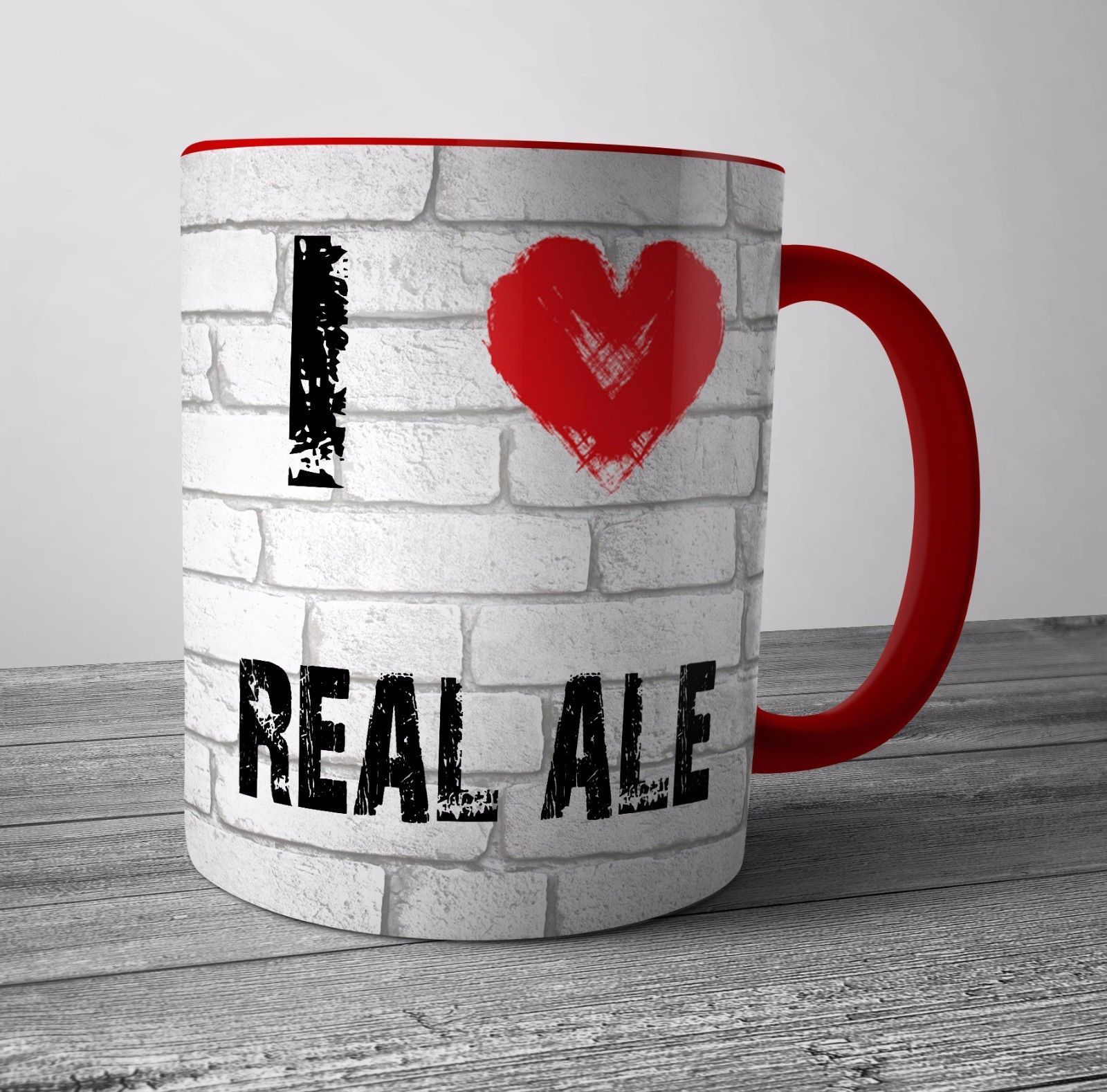 I Love Real Ale Tea Coffee Cup Birthday Christmas Gift Red