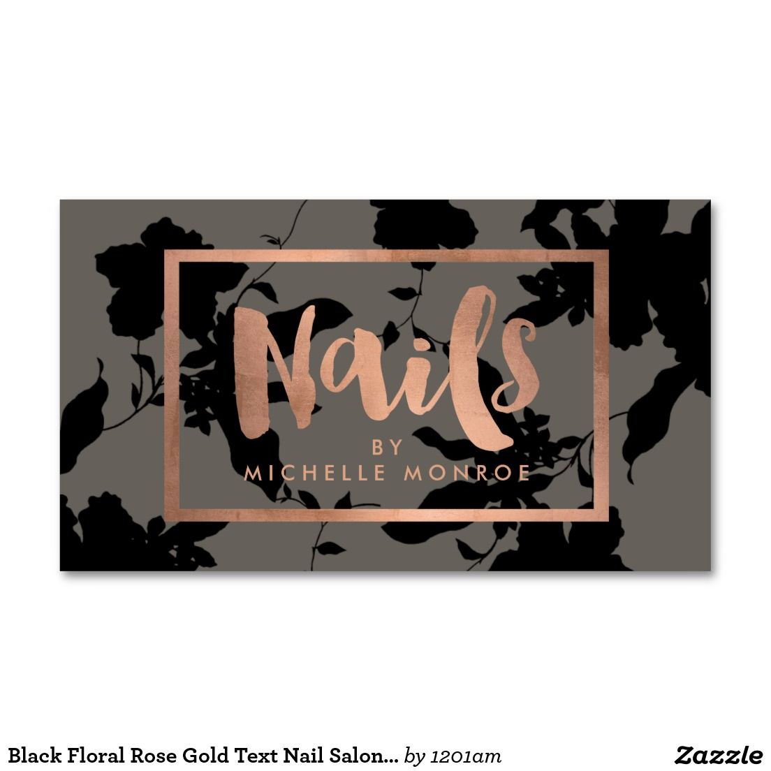 Black Floral Rose Gold Text Nail Salon Gray Business Card It S