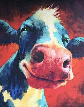 Cow Art 8 At Dollar General The Perfect Addition To My Vintage Laundry Room Love The Punches Of Color Cow Art Cow Painting Farm Art