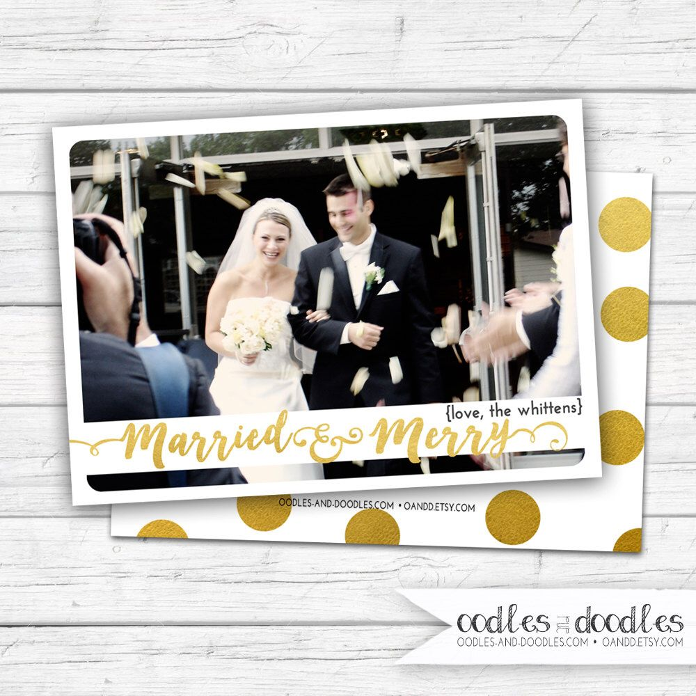 Newlywed Christmas Card, Married Christmas Card, Married and Merry ...