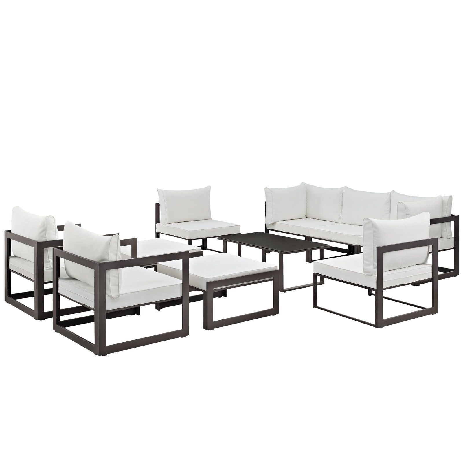 Modway Chance 10 piece Outdoor Patio Sectional Sofa Set White