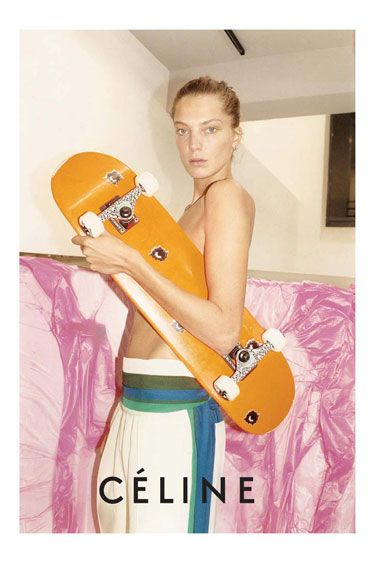 Celine Spring 2011  Model: Daria Werbowy  Photographer: Juergen Teller  Why we love it: Daria looks major with a skateboard modeling the brand's now-iconic prints.
