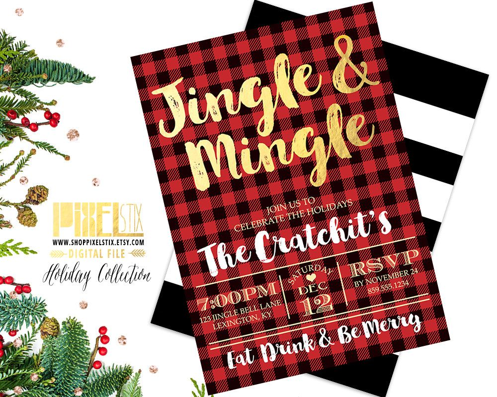 jingle and mingle, christmas party invitation, flannel invite, gold
