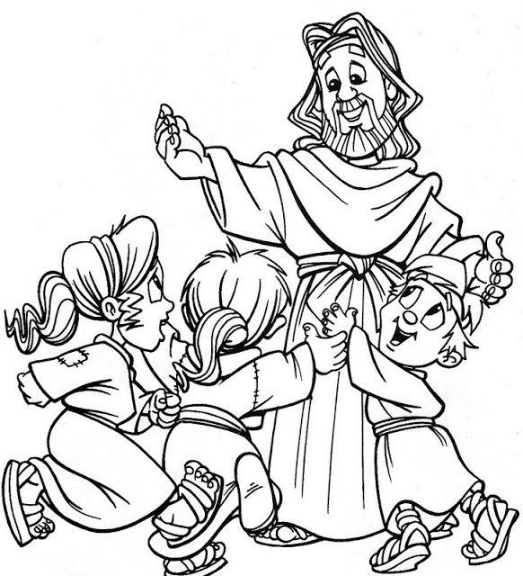 jesus niños para colorear - Buscar con Google | tarefinhas biblicas ...