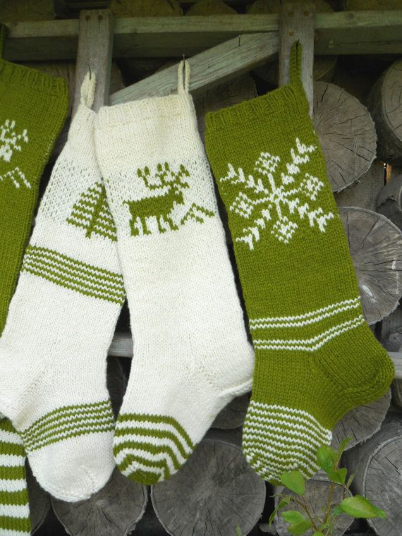 big hand knitted christmas stocking in white with green deer great for christmas decoration or