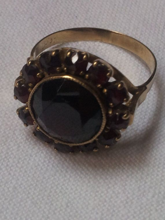 Bohemian Garnet And 8k Gold Ring