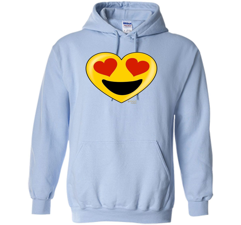 Emoji Heart Valentine's Day Shirt Heart Eyes Big Smile Kids