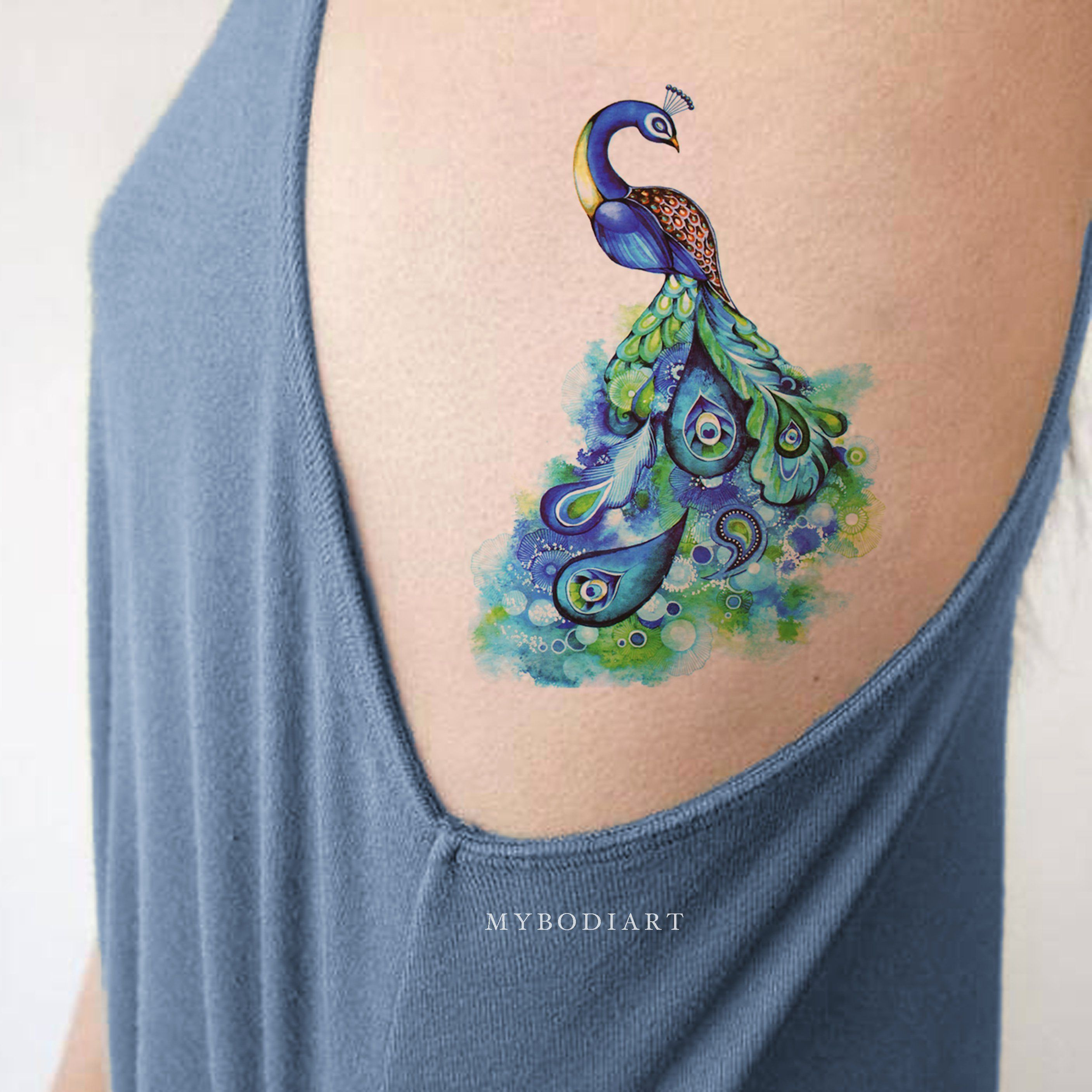 Watercolor Peacock Temporary Tattoo in 2020 Tattoos