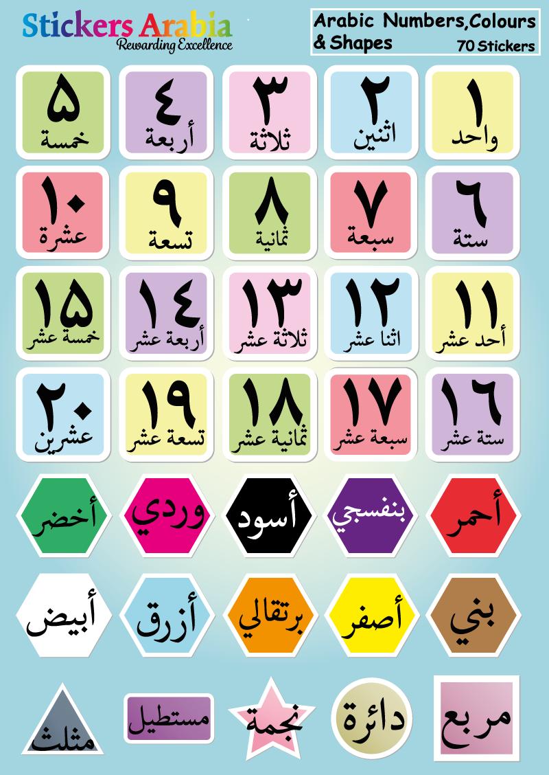 Arabic Numbers Colours Shapes Stickers Lembar Kerja Belajar Pengenalan Huruf