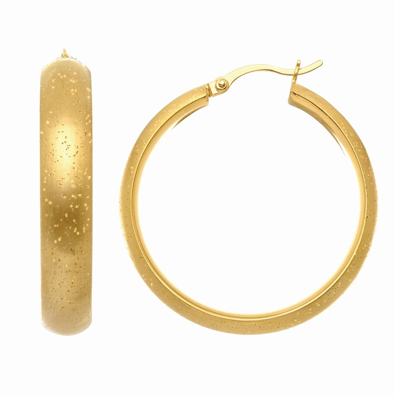 Royal Stardust Finish Sterling Silver Hoop Earrings