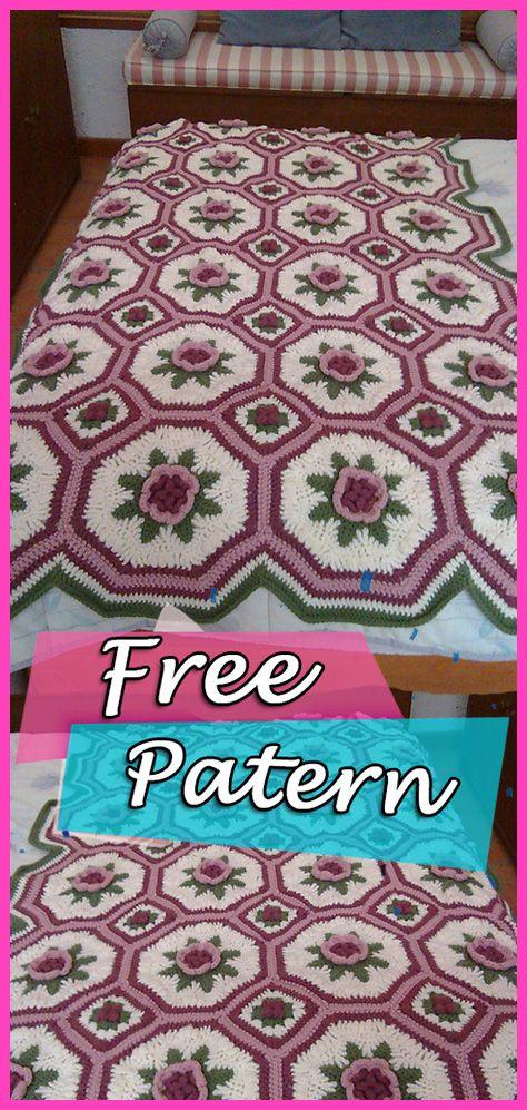 Blanket of Roses Afghan Free Crochet Pattern – Step by Step   Afghan ...