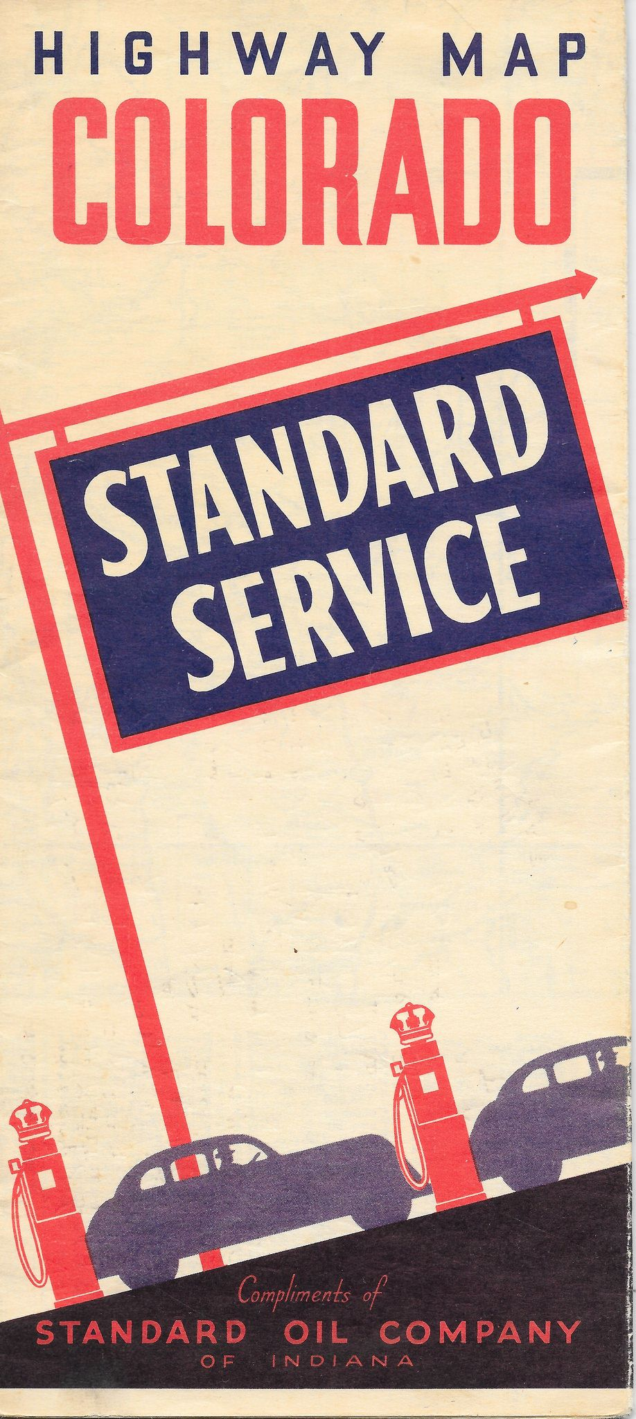 Standard Oil of IN Road Map Colorado 1936
