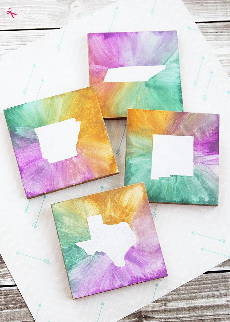crafty ideas modern coasters. Make DIY watercolor state coasters  A fun craft idea to make for your home with the shape of any great handmade gift Watercolor State Coasters Fun