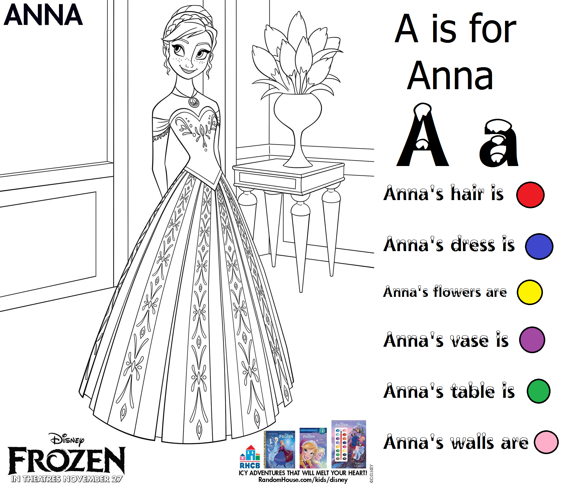 A is for Anna Color Follow directions Frozen Preschool for girls ...